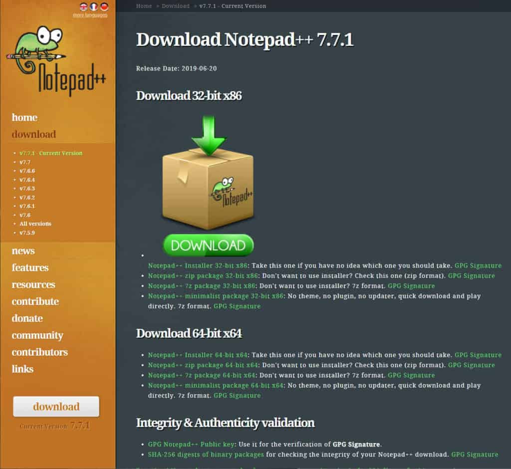 Notepad ++ where to download it