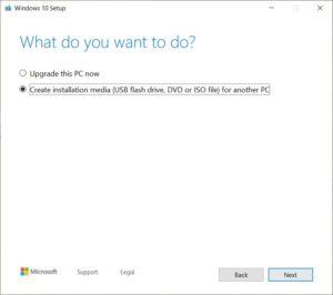 Windows 10 - Create installation media