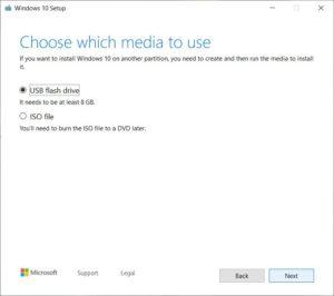 Windows 10 - choose media
