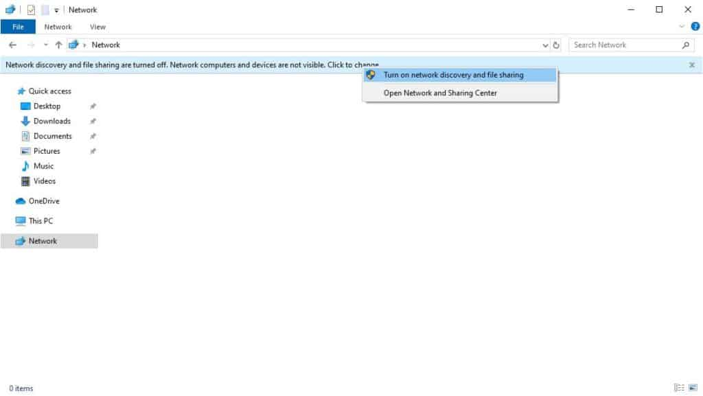 Windows 10 - Turning on Network discovery