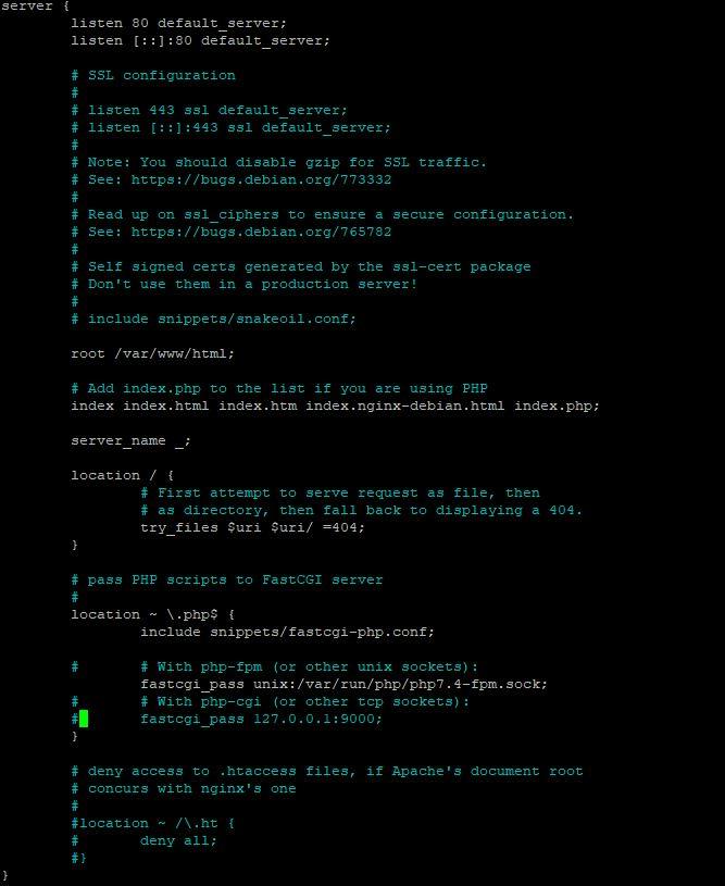 8. edit default nginx file